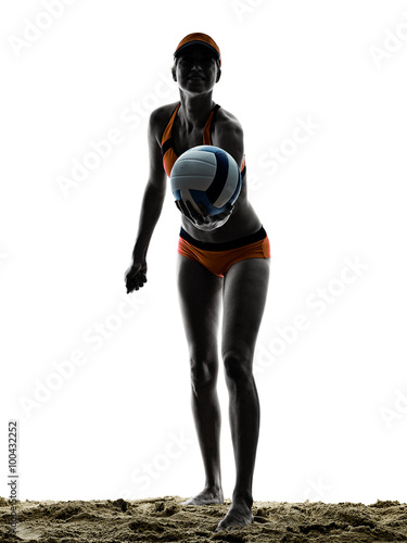 Poster Plage femme volley player silhouette