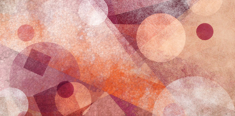 abstract modern geometric background design with various textures and shapes, floating circles squares diamonds and triangles in orange white and burgundy pink colors, artistic composition layout