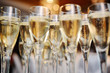 champagne glasses on a background of lights