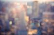 Defocused blur across urban buildings in New York City