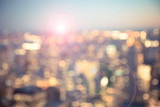 Defocused blur across urban buildings in New York City