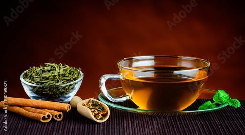 Fototapeta Green Tea in Cup and Ingredients