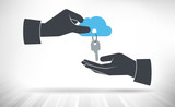 Hand giving keys to cloud. Concept of cloud access handed over from one person to another