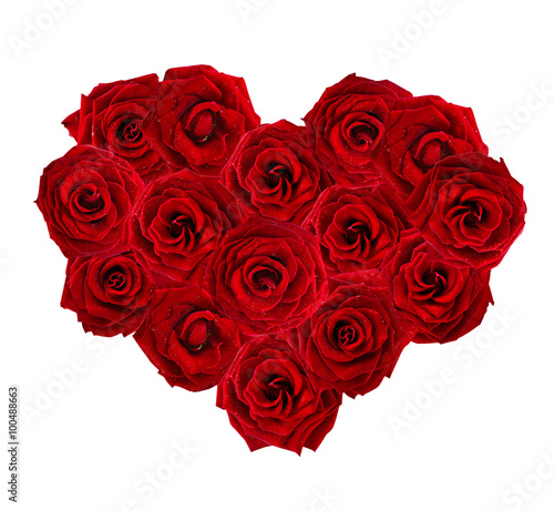 Staande foto Roses Valentines Day heart made of red roses isolated on white