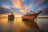 Two Ship Wreck in Kuala Penyu, Sabah, Malaysia with long exposure