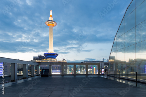 Dusk Lighted Kyoto Tower Blue Hour Evening Nobody