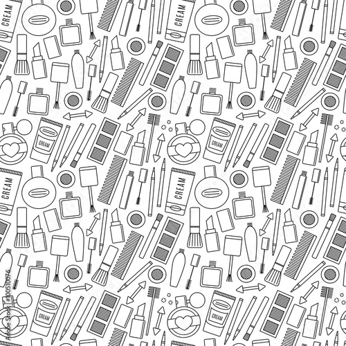 Materiał do szycia Make up and cosmetics seamless pattern. background fashion