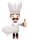 Gestures chef holding empty plate to the top. 3D Chef Character