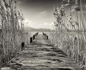 Fototapeta czarno biały mostek nad jeziorem
