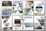 Fototapety Business templates for brochure, flyer or booklet. Abstract multicolored background of blurred nature landscapes, geometric vector, triangular style illustration