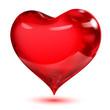 Obrazy na płótnie, fototapety, zdjęcia, fotoobrazy drukowane : Big transparent glossy red heart with shadow on white background