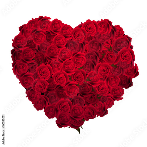 Staande foto Roses Valentines Day Heart Made of Red Roses. EPS 10
