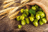 Barley and hop cones on  rustic wooden background. Beer brewing ingredients - 100578242