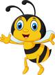 Obrazy na płótnie, fototapety, zdjęcia, fotoobrazy drukowane : Funny bee flying isolated on white background