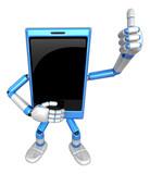 3D Smart Phone Mascot the hand best gesture. 3D Mobile Phone Cha