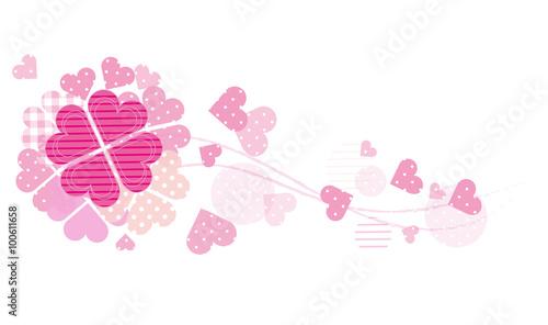 【インテリアシール】ピンクの四つ葉のクローバー  壁シール
