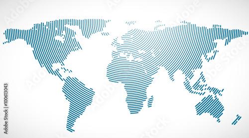 Aluminium Wereldkaarten planisphère bleu