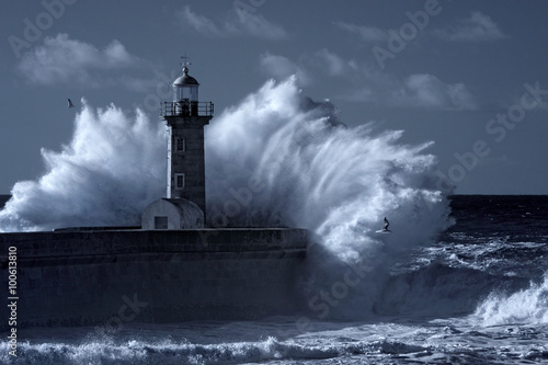 Infrared stormy lighthouse - 100613810