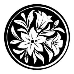 White flower ornament on a black circle background. Vector illustration.