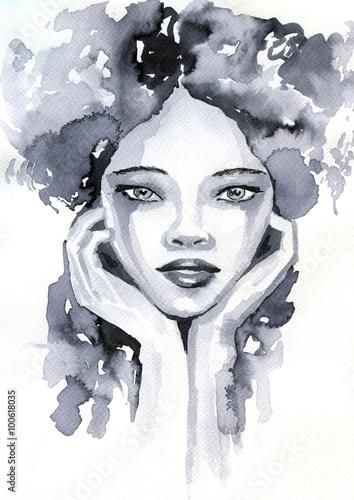 Staande foto Schilderkunstige Inspiratie portret akwarelowy kobiety