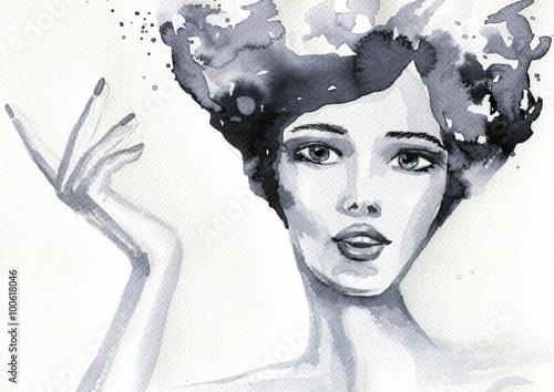 Foto op Canvas Schilderkunstige Inspiratie portret akwarelowy kobiety