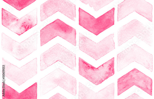 Pink chevron with white background. Watercolor seamless pattern for fabric - 100619053