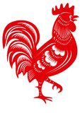 Rooster. Cock. Symbol of Chinese year zodiac. Paper cut style.