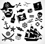 Fototapety Pirate icon set vector