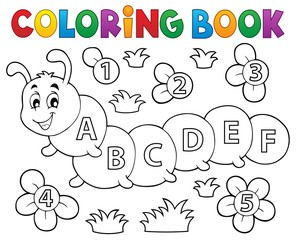 Coloring book caterpillar with letters