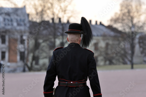 Royal Guard guarding Royal Palace in Oslo - Norway