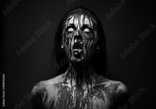 female demon.Art studio shot.Goth girl with sliced tongue плакат