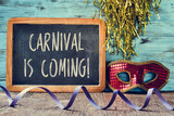 red mask and text carnival is coming
