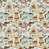 Fototapety Seamless pattern with coffee and sweet. Coffee background