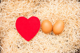 Love cradle and egg with red heart and straw