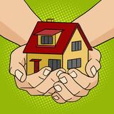 Fototapety House in hands pop art style vector