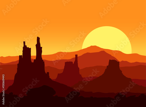 Tuinposter Algerije Sunset in the Rocky Mountains. Vector illustration.