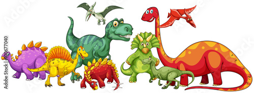 Fototapeta Different type of dinosaurs in group