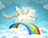 Pegasus flying over the rainbow