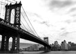 manhattan bridge and the city in black and white style