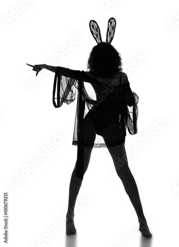 woman point finger and posing dancing in casual cloth and  bunny Poster