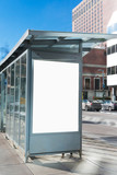 Bus shelter billboard in the city