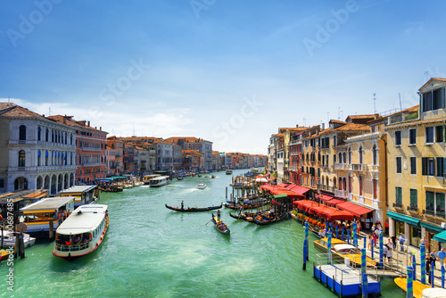 Beautiful view of the Grand Canal from the Rialto Bridge, Venice Poster