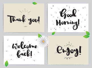 Greeting cards set with calligraphy. Hand drawn design elements. Inspirational quote. Black and white.