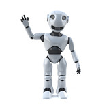 3d Robot is waving at you
