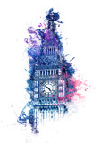 Colorful watercolor painting of Big Ben
