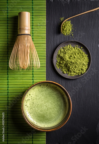 Matcha accessories and green tea
