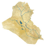 Cartina Iraq, cartina fisica, disegnata a mano, illustrata