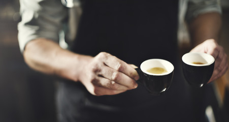 Waiter Serving Coffee Professional Concept