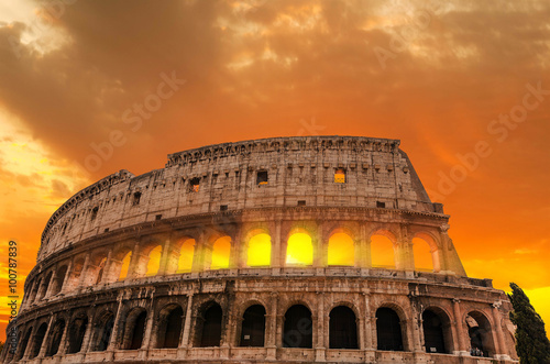 Poster Roman Colosseum at sunset.