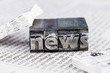 Leinwanddruck Bild - News in Bleibuchstaben